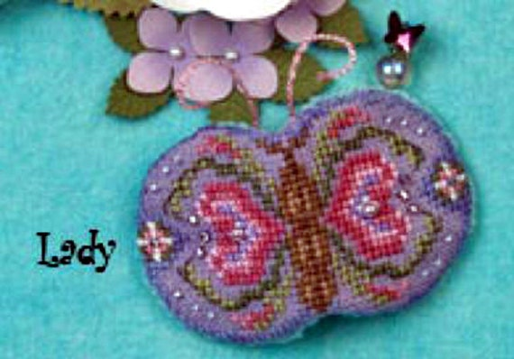 Just Nan Cross Stitch Partial Kit, Needle Flutters, Lady with Embellishment Pack Included