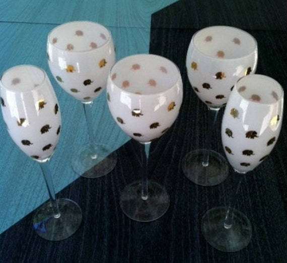 Vintage Set of Five White and Gold Lucky Elephant Wine Glasses
