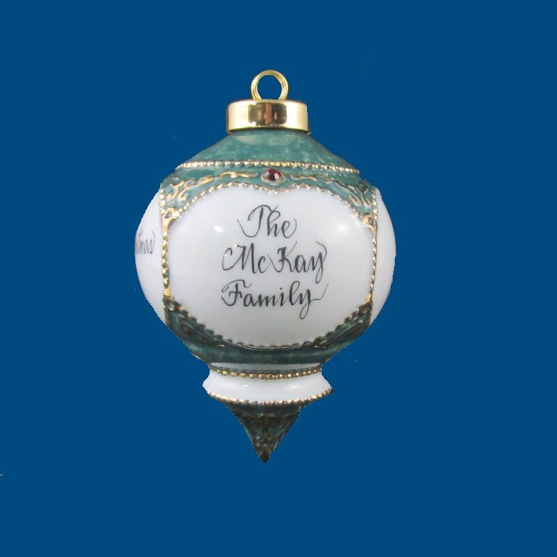 Personalized hand painted victorian christmas ornament for Personalized christmas photo ornaments