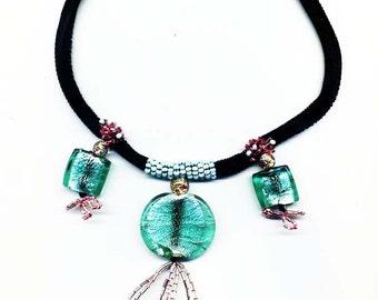 Aqua and Pink Bead Drop Necklace