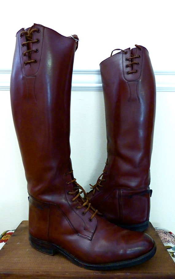 RESERVED for T - Antique Equestrian English Riding Boots Leather -Possibly Calvary Made in England