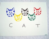 Tabby cat art drawing original 5 x 7 - colorful kitty faces