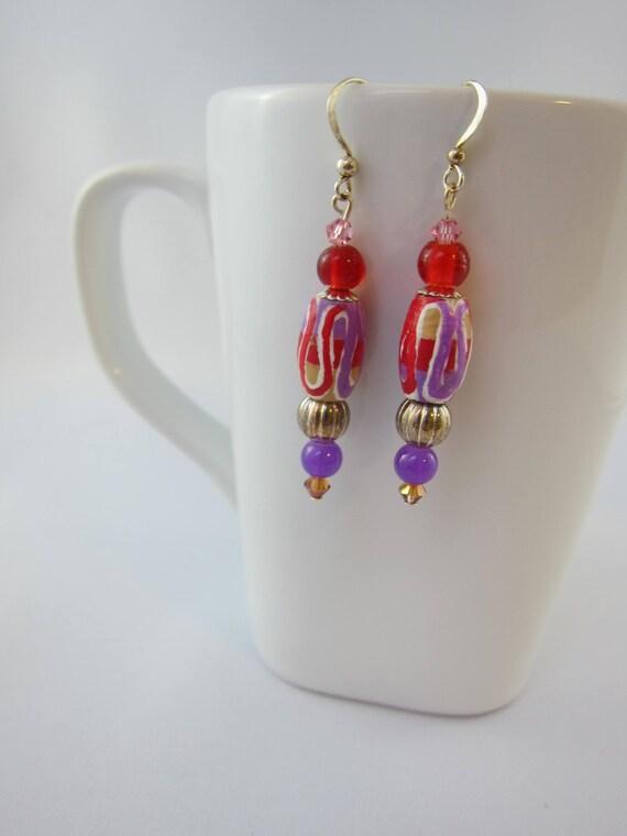 Beaded earrings, handpainted beaded earrings, red and purple earrings, unique earrings
