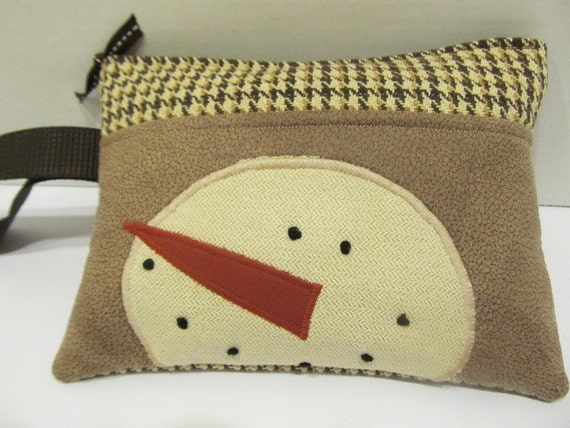 Appliqued Snowman Wristlet in Tan and Brown Checked
