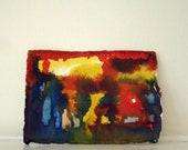 Original Small painting Rust, Orange, Fire, Blue, Yellow