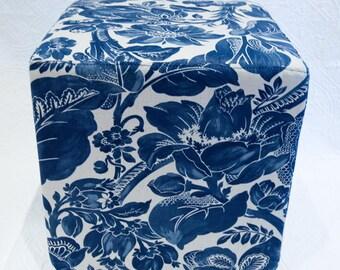 Indigo Blue Floral Ottoman