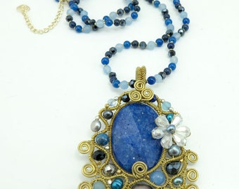 Lapis,crystal pendant beads necklace