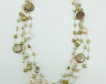 Green shell,freshwater pearl,crystal necklace.