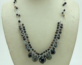 Black agate,onyx,tiger eye and crystal necklace.