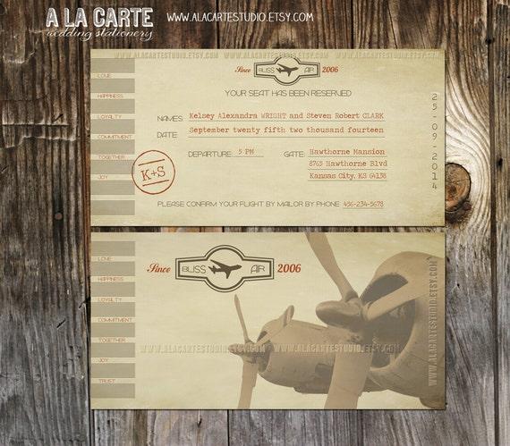 Plane Ticket Wedding Invitations: Items Similar To Vintage Airline Ticket Invitation