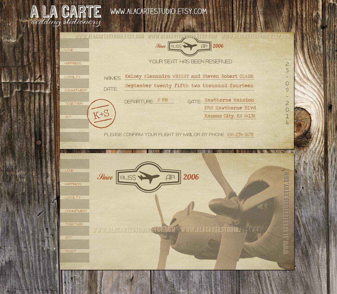 Vintage Airline Ticket invitation -Destination Wedding Invitation ...