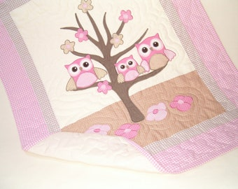 Baby Quilt, Baby Crib Quilt, Owl Baby Quilt Blanket