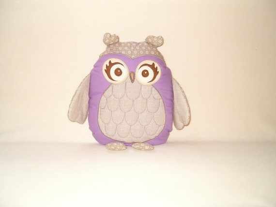 Personalized Owl Pillow -  Baby Shower Gift -  Plush Toy -purple-beige - HET -