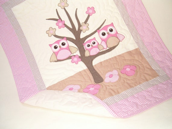 Baby Quilt, Baby Crib Quilt, Owl Baby Quilt Blanket