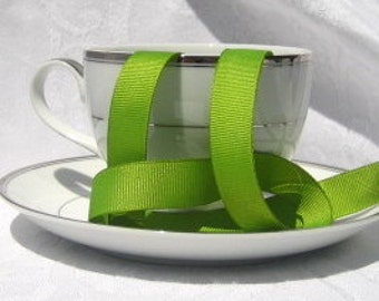 "Lime Green Grosgrain Ribbon 5/8"" wide  - 1 yard"