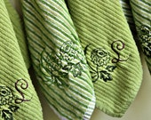 Monogrammed Shades of Green Hanging Dishcloths, Set of 4