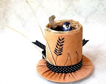 Tiny Top Hat: Bird's Nest - Lolita Tan Beige Bird adorable cute quirky gift bird lover cosplay costume