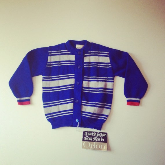 1970's Royal Blue Cardigan - Size 24 mos