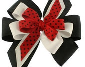 Red,Black,and White Pinwheel Stacked Hair Bow