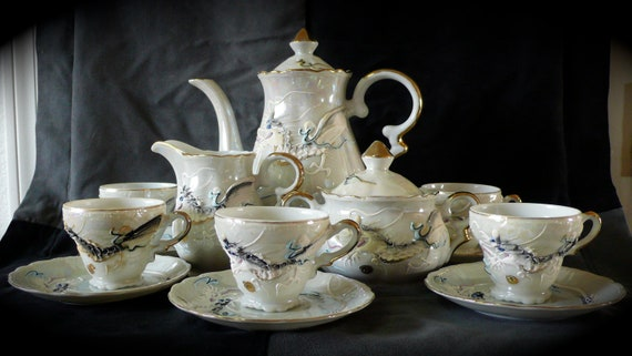 Vintage Hand Painted Dragonware Tea Set cup and saucers White Iridescent Luster cream and sugar  Moriage Dinnerware
