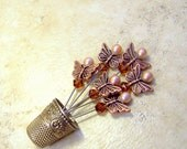 Straight Pins 6 decorative copper butterfly champagne cocoa espresso Swarovski sewing room craft wedding bouquet stitch marker TAGT