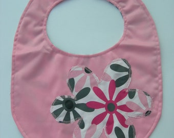 Pink PUL & Floral Cotton with appliqued matching flower