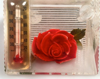 Reverse Carved LUCITE Pen Holder & Desk Thermometer Hand Colored Desk Accessory Hand Colored  1950s Vintage