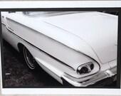 photo card classic car, 1958 Chevy Delray, retro, black and white