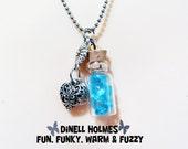 CLEARANCE SALE Jar Of Hearts, BLUE Vintage Crystal Glass Vial Pendant Handmade Jewelry