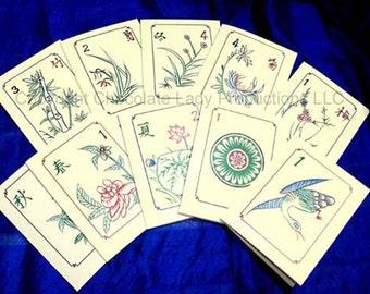 Mah Jongg Vintage Bamboo & Bone Tile Mini Note/Gift Cards