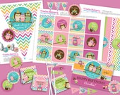 Owl Birthday Girl DIY Party Printables Package. Pink, Aqua, Orange, and Green Chevron. Owl themed party printables customized just for you.