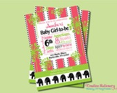 Pink and Green Elephant Hottsie Dottsie inspired DIY Party Invitation. Pink and Lime Green with Elephants. Customized just for you.
