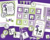 Oh Baby Chic Shower DIY Party Printables Package. Purple, Green, Black and White. Party Printables customized just for you.