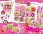 Owl Birthday Girl DIY Party Printables Package. Pink and Purple with fun chevron pattern. Customized just for you.