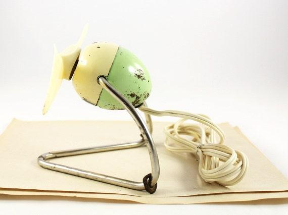Vintage Cream and Green Caframo Desk Fan