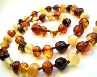 Baltic Amber Baby Teething Necklace. Multicolor beads.  Effective Pain Relief Solution.