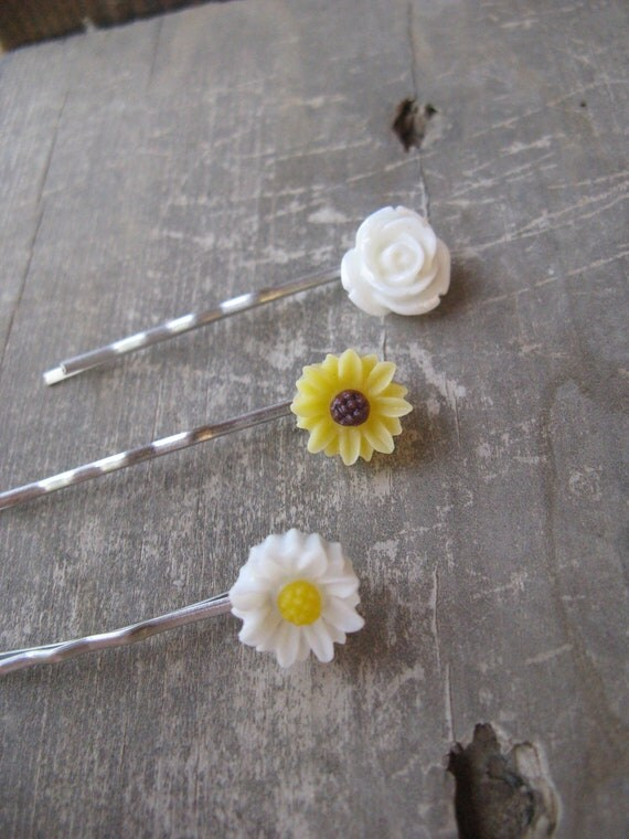 Flower Bobby Pin Set,set of 3 bobby pins,sunflower bobby pin