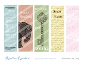 Printable bookmarks bright shades elephant antique key scrapbooking