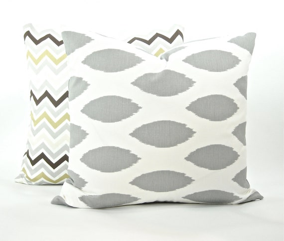"Storm Grey & White ""Chipper"" Decorator Pillow Cover - Fabric Both Sides - To cover 20""x20"" Pillow Form"