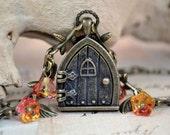 Fairy Door Locket, Colors of Sunrise, Bronze Leaves and Glass Flowers Door Necklace
