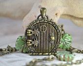 Fairy Door Locket, Garden Door Necklace, Rustic Leaves and Bronze Branches Locket Necklace