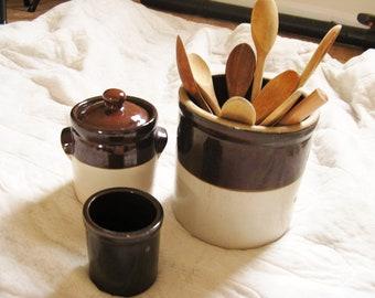 Brown/White Glazed Stoneware - Set of 3