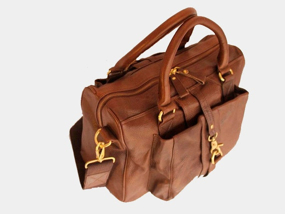 On Sale - Chocolate Brown Satchel / large Leather Bag with adjustable strap