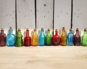 Vintage 12 Miniature Bitters medicine bottles beautiful suncatchers and perfect for oil blends, cell salts, homeopathy pellets 3 inches