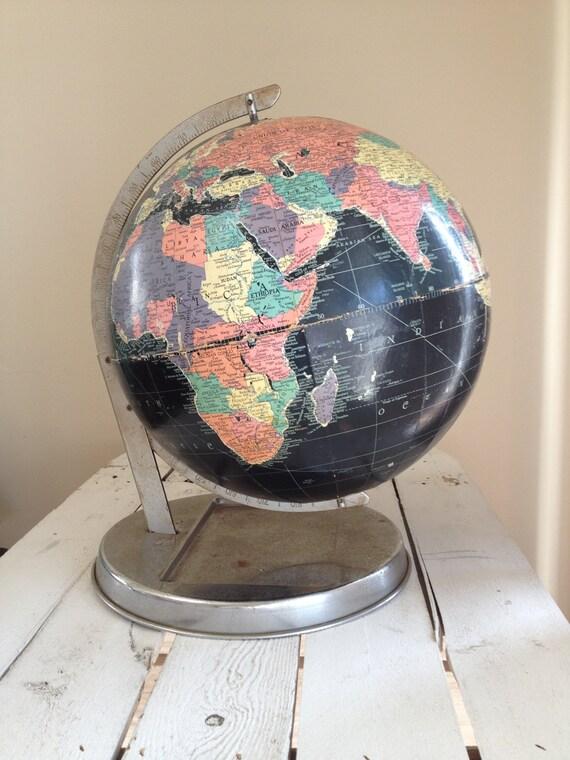 Vintage black globe / Map Globe with black waters By Replogle / 12 inch starlight globe / black replogle globe / nautical decor