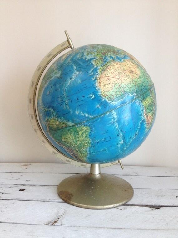 Vintage Rand Mcnally World Portrait globe Circa 1980s by MellaFina