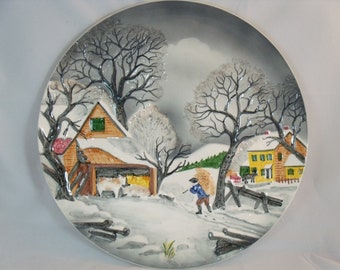 Vintage West German Hand Painted Ceramic Plate Wall Hanging