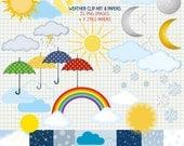 Weather  Clip Art and digital scrapbooking paper pack- printable Sun, Moon, Clouds, Rain, Rainbow, Umbrella, Snow - instant download