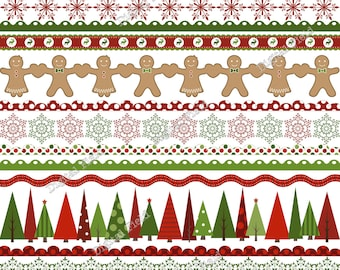 Christmas borders and ribbons clip art set-red green holiday printable digital clipart - instant download