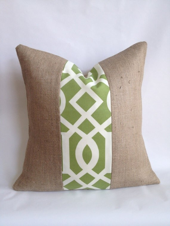 20x20 Green and White Outdoor Fabric and Burlap Pillow Cover